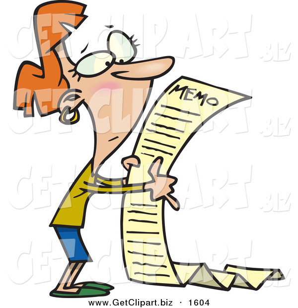 Clip Art of a White Woman Reading a Very Long Memorandum
