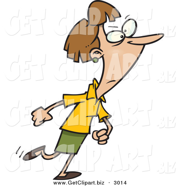 Clip Art of a White Woman Walking with a Determined Expression