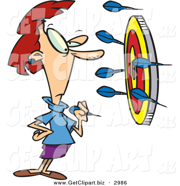 Clip Art of a Wide Eyed White Woman Throwing Darts at a Target