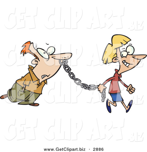 Clip Art of a Woman Leading a Man on a Metal Chain to the Side