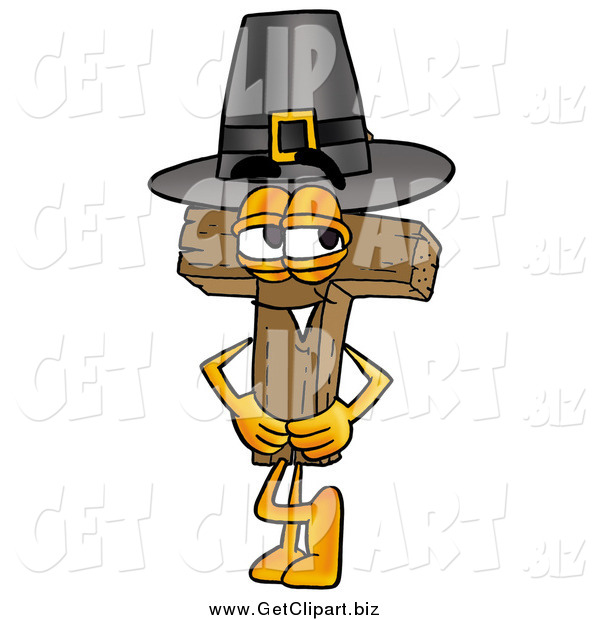 Clip Art of a Wooden Christian Cross Wearing a Pilgrim Hat on Thanksgiving