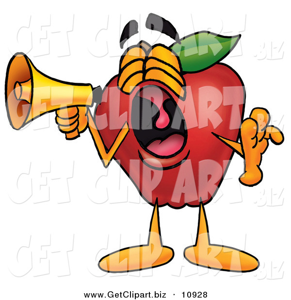 Clip Art of a Yawning Red Apple Character Mascot Screaming into a Megaphone