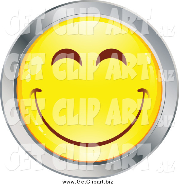 Clip Art of a Yellow and Chrome Round Smiley Emoticon Happy Face