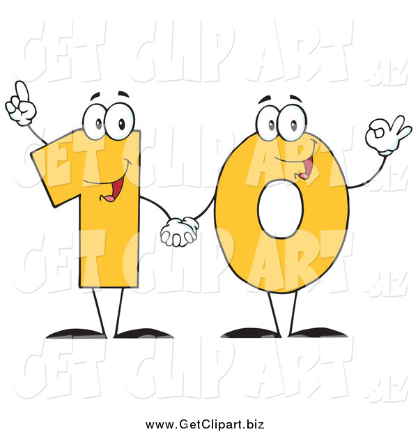 Clip Art of a Yellow One and Zero Holding Hands and Forming Number Ten