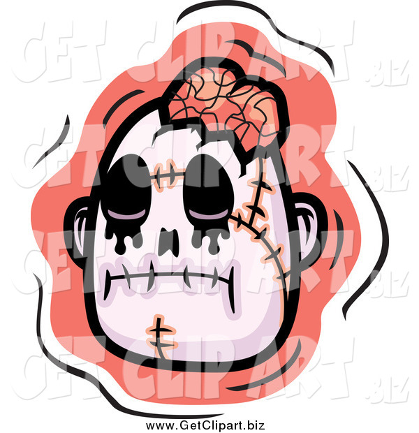 Clip Art of a Zombie Head with Exposed Brain over Pink