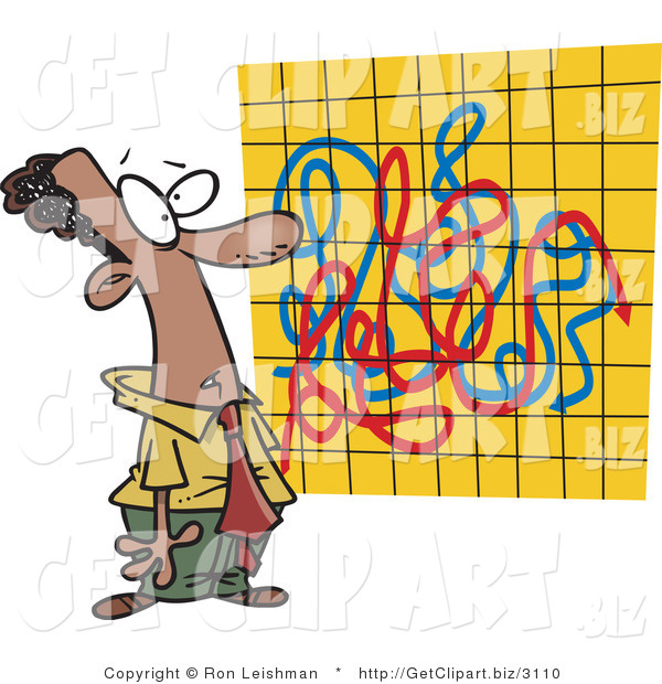 Clip Art of an African American Man Looking at a Crazy Graph Chart Full of Lines