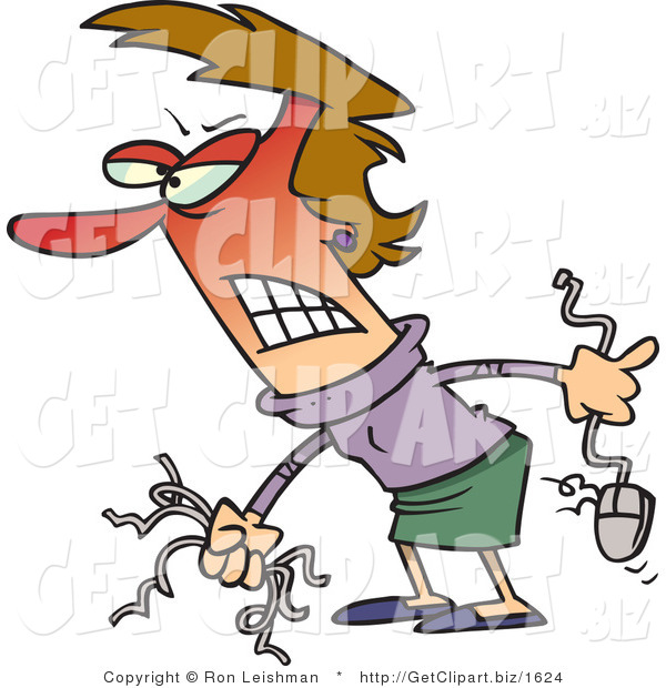 Clip Art of an Angry Red Faced Woman Holding Computer Wires and a Mouse