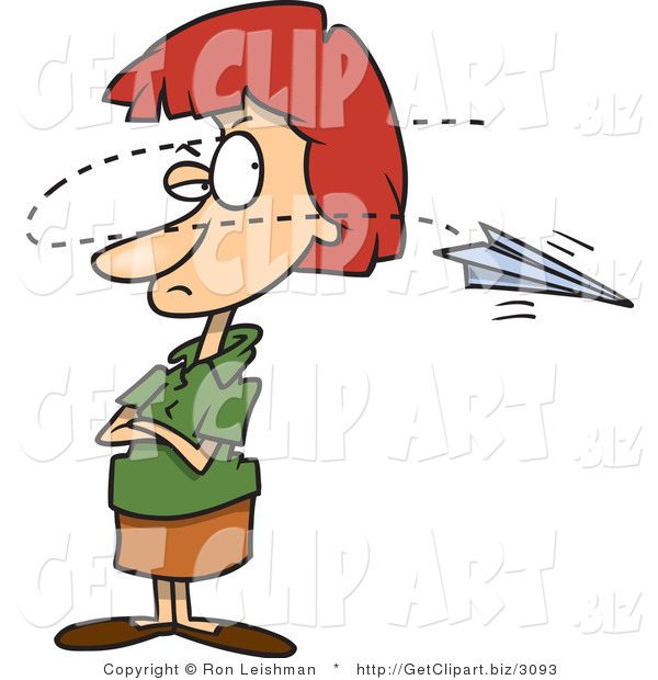 Clip Art of an Annoyed Red Haired Woman near a Paper Airplane, Buzzing Around Her Head
