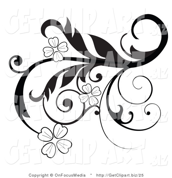 Clip Art Of An Elegant Black And White Scrolling Design
