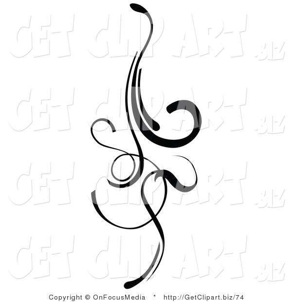 Clip Art of an Elegant Black Design Element Doing Downward with Curls and Lines