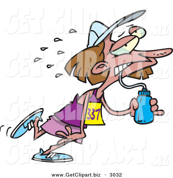 Clip Art of an Exhausted Female Marathon Runner Drinking Water and Running Right