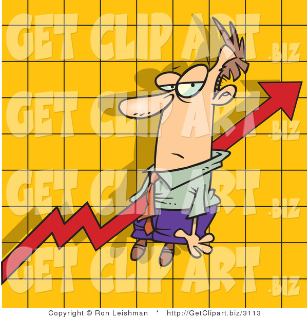 Clip Art of an Increase Arrow on a Graph Chart, Going Right Through an Unimpressed Man