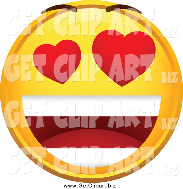 Clip Art of an Infatuated Emoticon