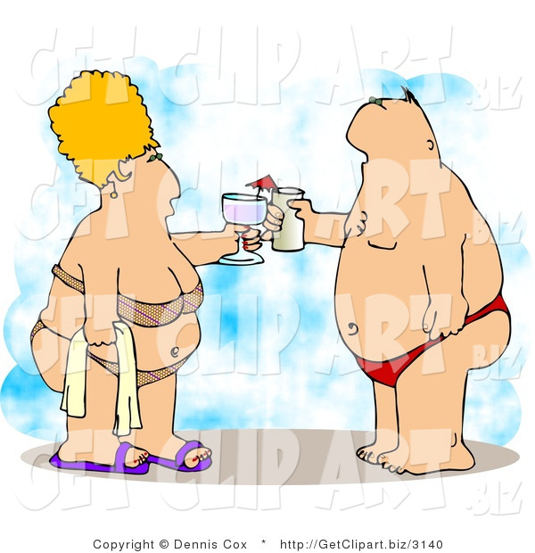 Clip Art of an Obese Man and Wife Vacationing at the Beach