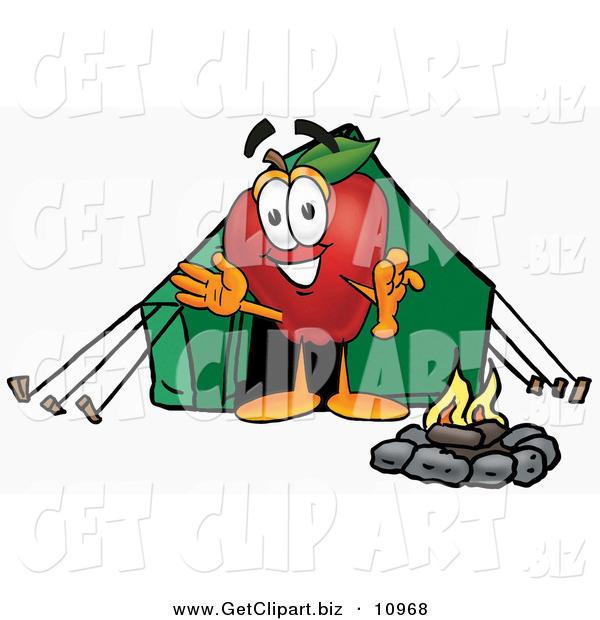 Clip Art of an Outdoorsy Happy Red Apple Character Mascot Camping with a Tent and a Fire