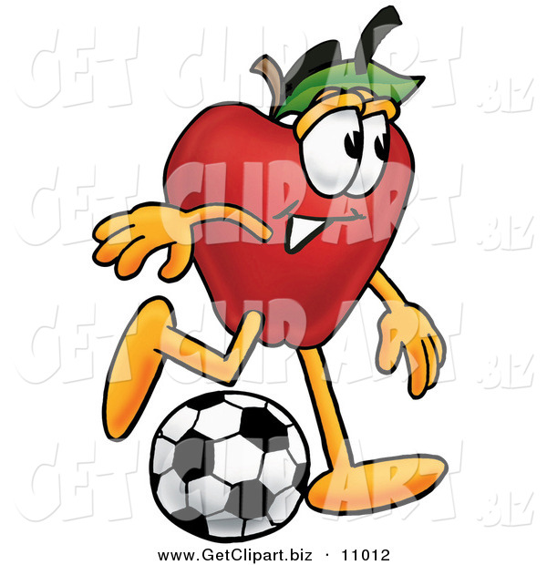 Clip Art of an Outdoorsy Red Apple Character Mascot Kicking a Soccer Ball