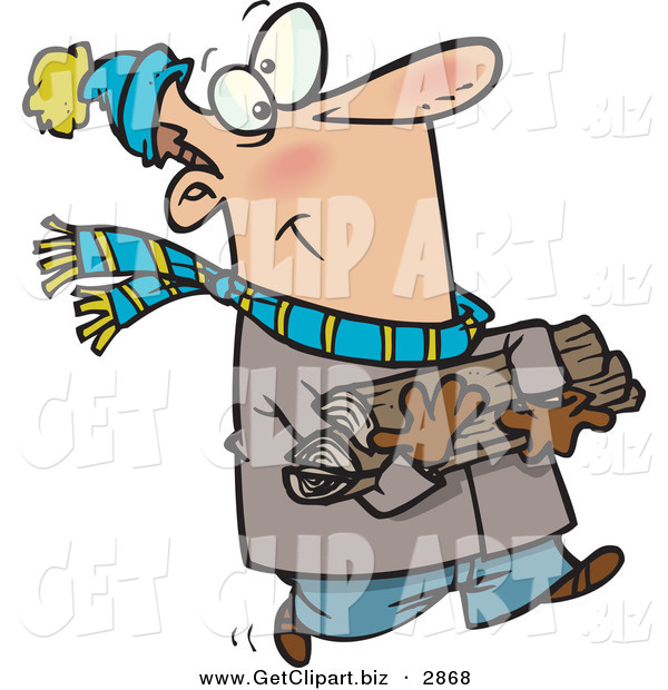 Clip Art of an Outgoing Caucasian Man in Winter Clothing Carrying Firewood for His Fireplace
