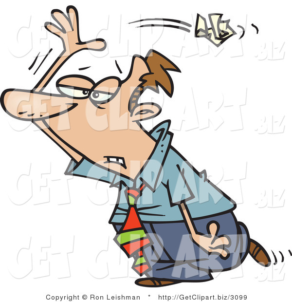 Clip Art of an Upset Busuinessman Tossing Crumpled Paper over His Shoulder