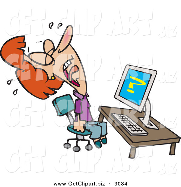 Clip Art of an Upset White Woman Screaming and Crying in Frustration While Getting Computer Errors