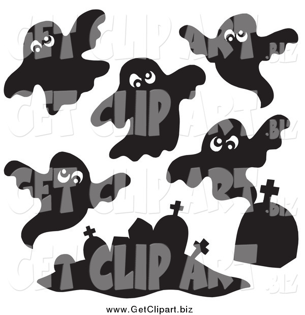 Clip Art of Black and White Ghosts and Tombstones