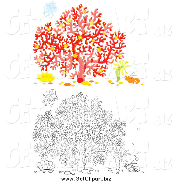 Clip Art of Colored and Lineart Scenes of Coral with a Shrimp Anemone and Jellyfish