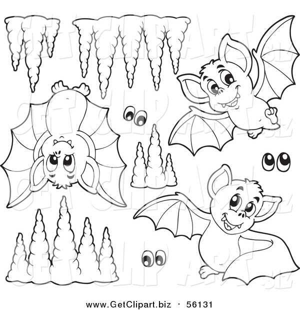 Clip Art of Lineart Cute Purple Bats Eyes and Cave Formations