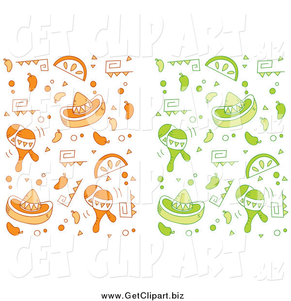 Clip Art of Orange and Green Cinco De Mayo Backgrounds