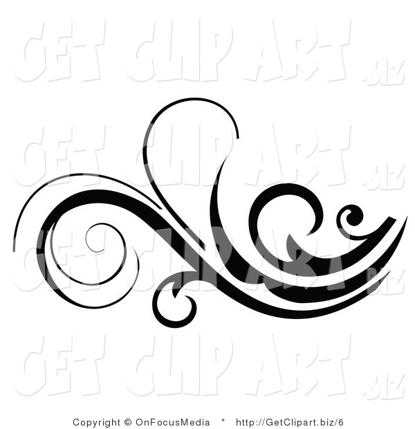 Vector Clip Art of a Beautiful Black and White Scroll Flourish
