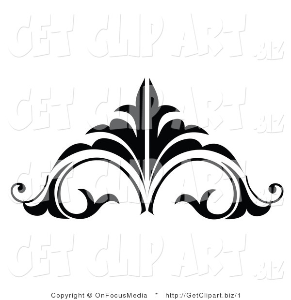 Vector Clip Art of a Black and White Embellishment