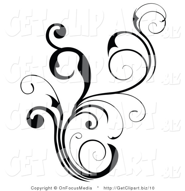 Vector Clip Art of a Floral Black Scroll and Flourish Design Element
