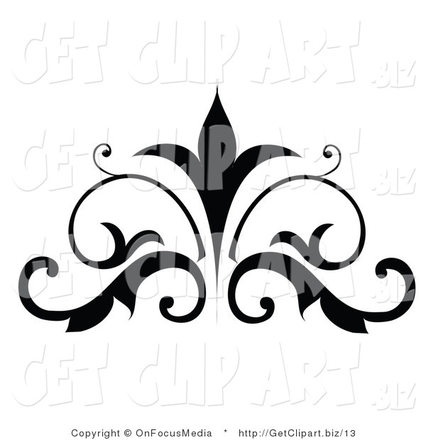Vector Clip Art of a Silhouetted Scrolling Embellishment Design
