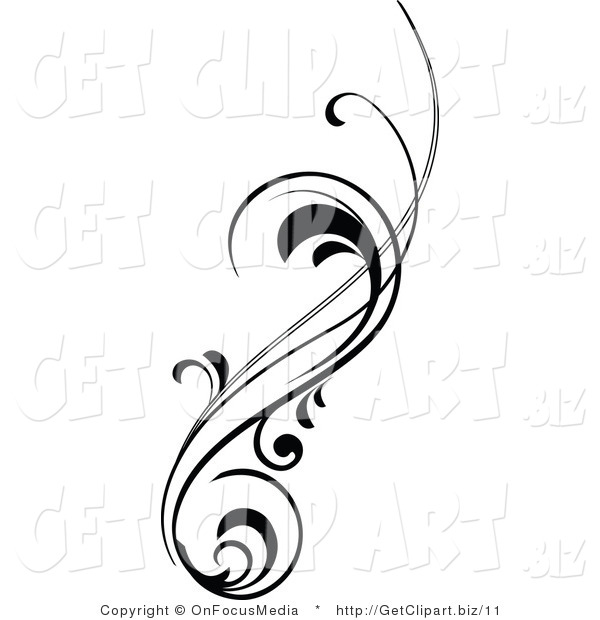 Vector Clip Art of a Vertical Black Silhouetted Scrolling Design Element