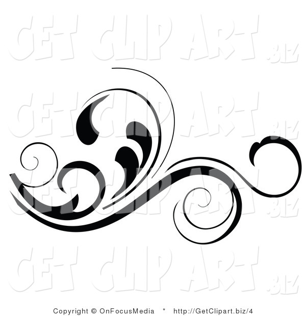 Vector Clip Art of an Ornate Black Flourish