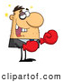 Clip Art of a Boxer Business Man with a Black Eye and Missing Teeth by Hit Toon