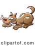 Clip Art of a Brown Dog Chomping on a Bone by Zooco