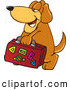 Clip Art of a Brown Dog Mascot Cartoon Character Carrying Luggage While on Vacation by Toons4Biz