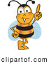 Clip Art of a Cheerful Bee Mascot Cartoon Character Pointing Upwards by Toons4Biz
