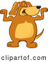 Clip Art of a Cheerful Brown Dog Mascot Cartoon Character Flexing His Bicep Arm Muscles by Toons4Biz