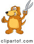 Clip Art of a Cheerful Brown Dog Mascot Cartoon Character Holding a Pair of Scissors by Toons4Biz