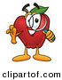 Clip Art of a Cheerful Red Apple Character Mascot Peeking Through a Magnifying Glass by Toons4Biz