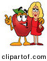 Clip Art of a Cheerful Red Apple Character Mascot Talking Nutrition with a Pretty Blond Woman by Toons4Biz