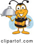 Clip Art of a Cute Bee Mascot Cartoon Character Dressed As a Servant, Carrying a Food Platter by Toons4Biz