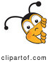 Clip Art of a Cute Bee Mascot Cartoon Character Peeking His Head Around a Corner by Toons4Biz