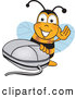 Clip Art of a Cute Bee Mascot Cartoon Character with a Computer Mouse by Toons4Biz