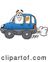 Clip Art of a Cute Blimp Mascot Cartoon Character Driving a Blue Car and Waving by Toons4Biz