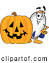 Clip Art of a Cute Blimp Mascot Cartoon Character with a Carved Halloween Pumpkin by Toons4Biz