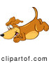 Clip Art of a Cute Brown Dog Mascot Cartoon Character Diving or Jumping by Toons4Biz
