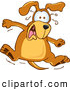 Clip Art of a Cute Brown Dog Mascot Cartoon Character Jumping in Shock by Toons4Biz