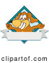 Clip Art of a Cute Brown Dog Mascot Cartoon Character with Open Arms over a Blank White Label by Toons4Biz