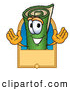 Clip Art of a Cute Green Carpet Mascot Cartoon Character with a Blank Tan Label by Toons4Biz